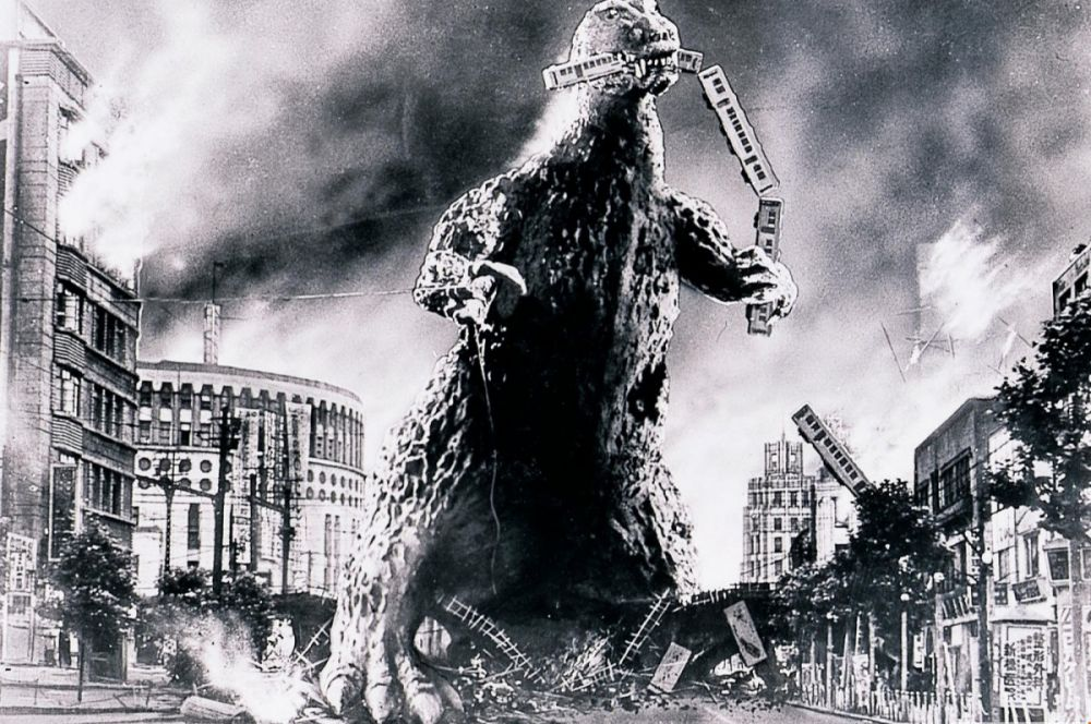 Первым фильмом в серии была чёрно-белая лента Исиро Хонды 1954 года. Картина быстро завоевала популярность и продюсеры сразу решили, что на одном фильме история франшизы не закончится. Согласно каноническому фильму, Годзилла миллионы лет пребывал в анабиозе на дне Тихого океана, но проснулся и начал топить корабли, а позже – нападать на города.