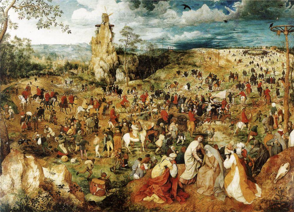 Любопытно обращается Брейгель с библейскими сюжетами: сцены разыгрываются в современном художнику пространстве фламандских городских и сельских пейзажей. Так фигура Иисуса (картина «Путь на Голгофу»), согбенного под тяжестью креста, практически теряется среди фигур множества других людей, изображенных на картине. Человек живет обычной повседневной жизнью, не догадываясь, что видит перед собой Бога.