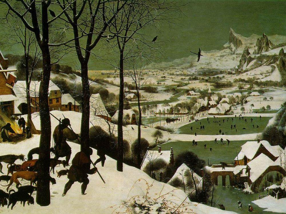 В 1565 году Питер Брейгель пишет серию полотен «Картины месяцев или времен года».  Главную роль в этих картинах играют уже не люди, а природа, человек же, как леса, горы, воды и животные, становится частью ландшафта.