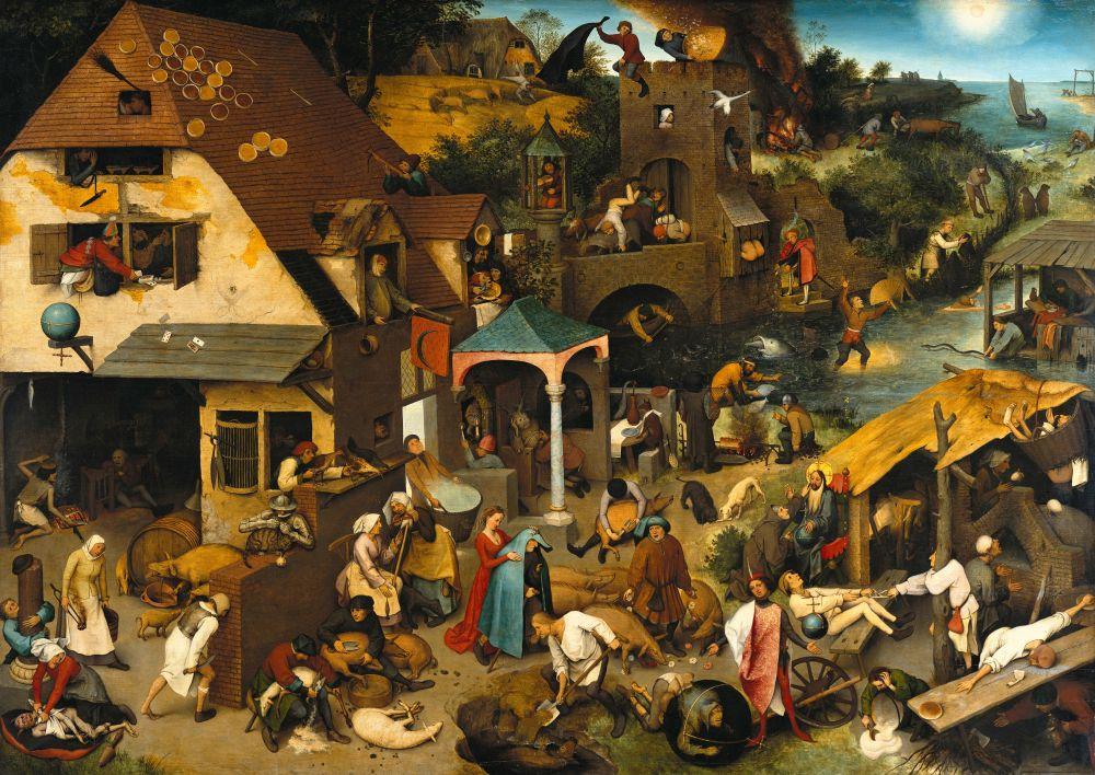 Работая над полотном «Фламандские пословицы», художник создает панораму современного общества, переосмысливая народные пословицы. Сюжеты реальной жизни, воплощенные в образах живых людей и их конкретных поступках, представляют различные пороки (скупость, себялюбие, чревоугодие) и претворяются в богатое, красочное зрелище.