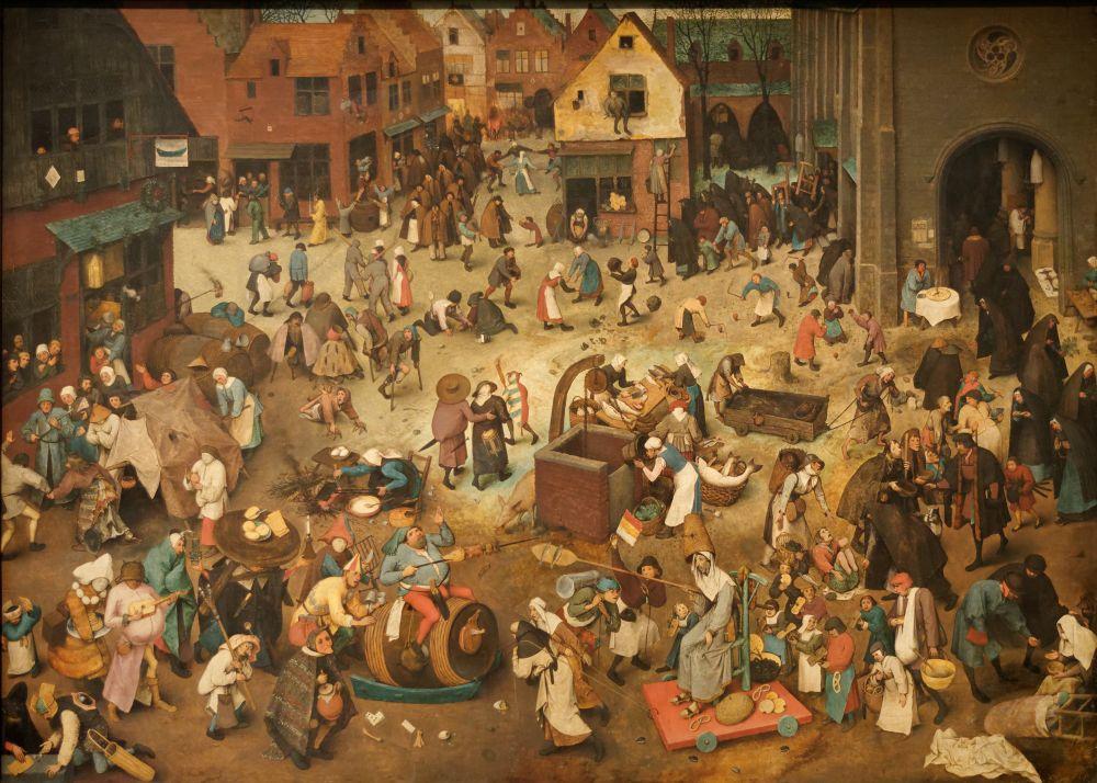 30 из 45 картин художника посвящены изображению природы, деревни и ее обитателей. Дело в том, что в то время  крестьяне на картинах изображались с весьма непримечательной стороны: тупицами, пьяницами, обжорами.  Брейгель был первым художником, кто показал, что неокультуренное начало человека является неотъемлемой его частью. Так безликие обитатели деревень становятся главными персонажами художника.