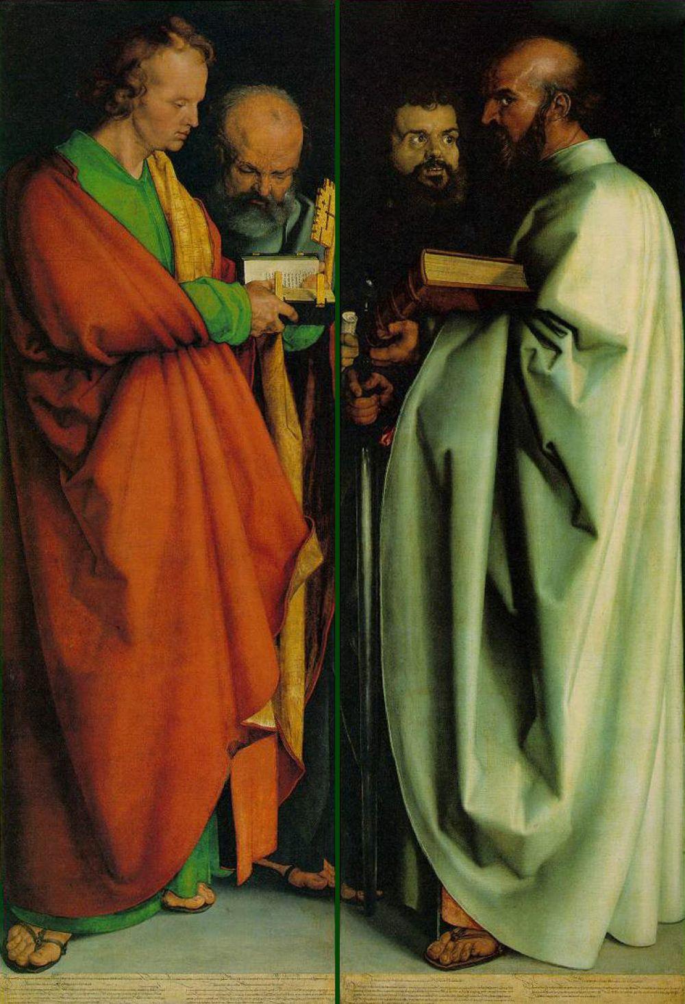В 1520 году художник отправляется в Нидерланды. Здесь он знакомится с работами Яна ван Эйка, Мемлинга, Рогира ван дер Вейдера и претерпевает серьезное влияние голландской живописи, что отражается в более поздних его произведениях. Одна из важнейших картин последних лет – «Четыре апостола» (1926), в которой художник воплотил четыре темперамента людей, связанных общим гуманистическим идеалом.