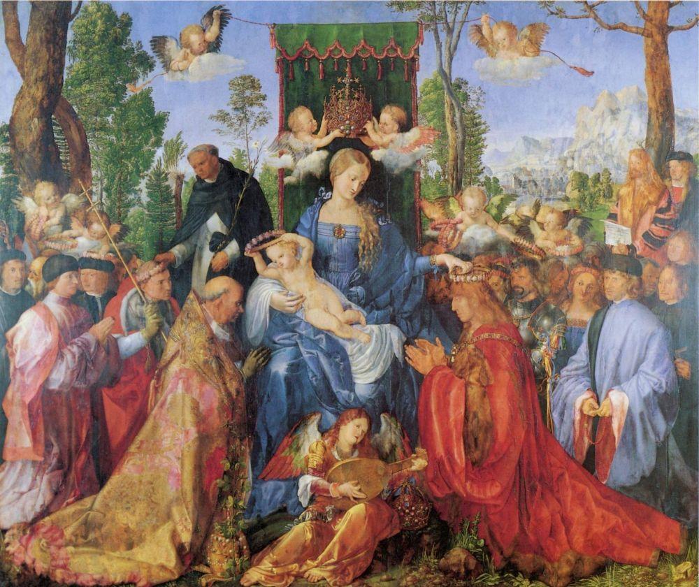В 1505 году, вновь путешествуя по Италии и знакомясь с работами итальянских художников (Тициан, Джорджоне, Беллини), Дюрер пишет картину – «Праздник венков роз», после которой ценители искусств признают в нем настоящего художника, а не просто успешного гравера. В письме к другу он пишет: «Здесь (в Венеции) я — господин, в то время как дома — всего лишь паразит». Дюрер осознает, что на родине к нему относятся как к простому ремесленнику, а не как к художнику.