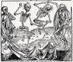 Дюрер тяготел к живописи и уговорил отца, который хотел, чтоб мальчик помогал ему в ювелирной лавке, отправить сына учиться рисованию. Так Дюрер попал в мастерскую ведущего на тот момент нюрнбергского художника Михаэля Вольгемута, где изучал не только живопись, но и гравирование по дереву. Именно здесь Дюрер создал первую гравюру («Танец смерти»), вошедшую в самое иллюстрированное издание XV века «Книги Хроники», над которой работал его учитель.