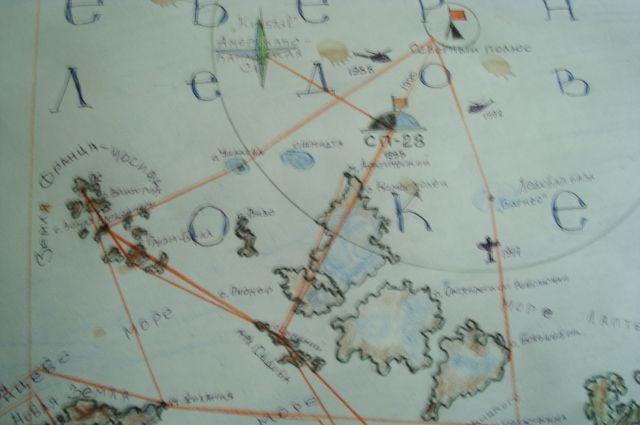 Северный Полюс на карте.