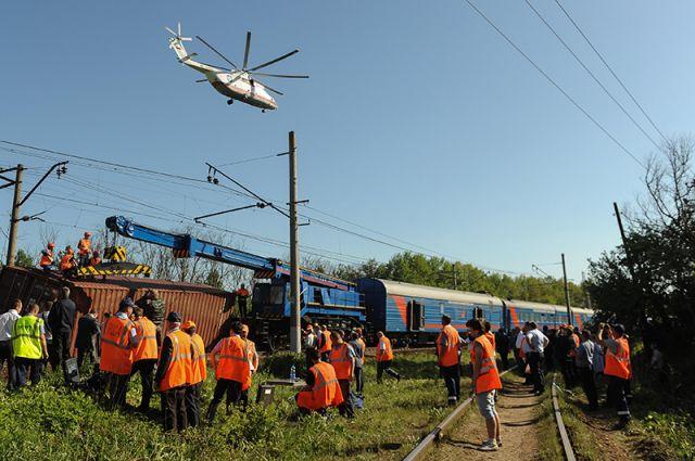 Последствия столкновения поездов в Подмосковье.
