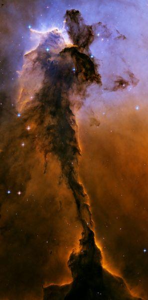 Туманность Орёл в созвездии Змеи. Её размер составляет около десяти световых лет.