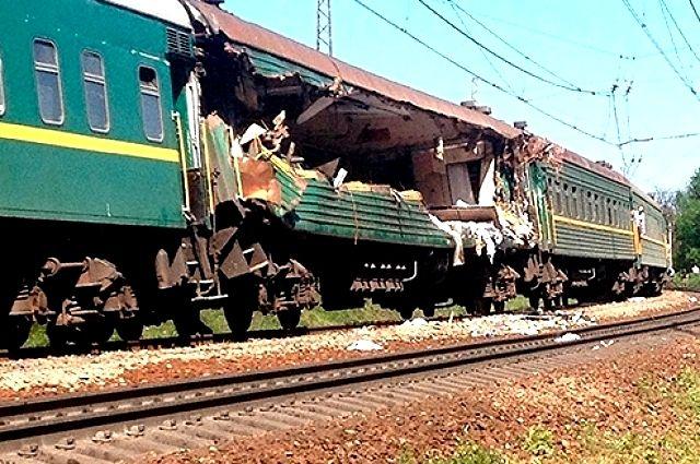 Украинский поезд Москва-Кишинев после аварии
