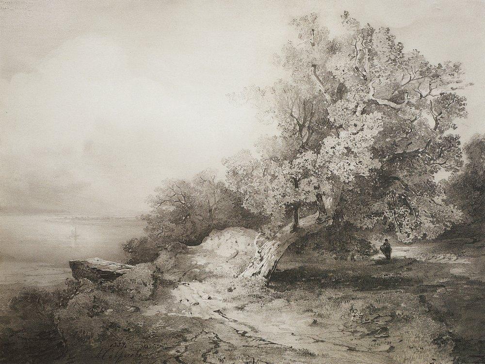 Подмосковные пейзажи пятидесятых годов - «Старые сосны» (1854), «Старый дуб у обрыва над рекой» (1857) - отражают возвышенное отношение Саврасова к природе. Это характерная черта художника, свойственная его творчеству в целом.