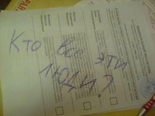Испорченные бюллетени на выборах президента Украины