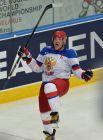 Игрок сборной России Александр Овечкин сразу после забитого им гола на 28-й минуте матча.