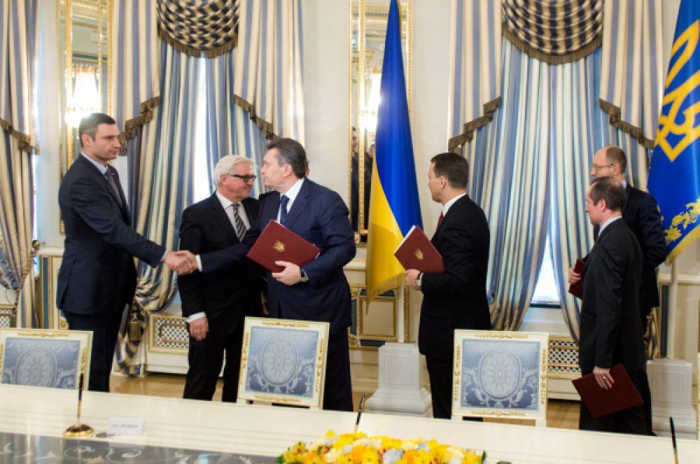 25 января 2014 года Виктор Янукович предложил Кличко должность вице-премьера по гуманитарным вопросам. Кличко отказался от предложения, заявив, что не пойдет на уступки. Тогда 21 февраля 2014 года Виталий Кличко, представитель оппозиции, и Виктор Янукович, действующий на тот момент президент Украины, подписали Соглашение об урегулировании кризиса в Украине. Из-за того, что Соглашение не было выполнено, Янукович был отстранен от власти.