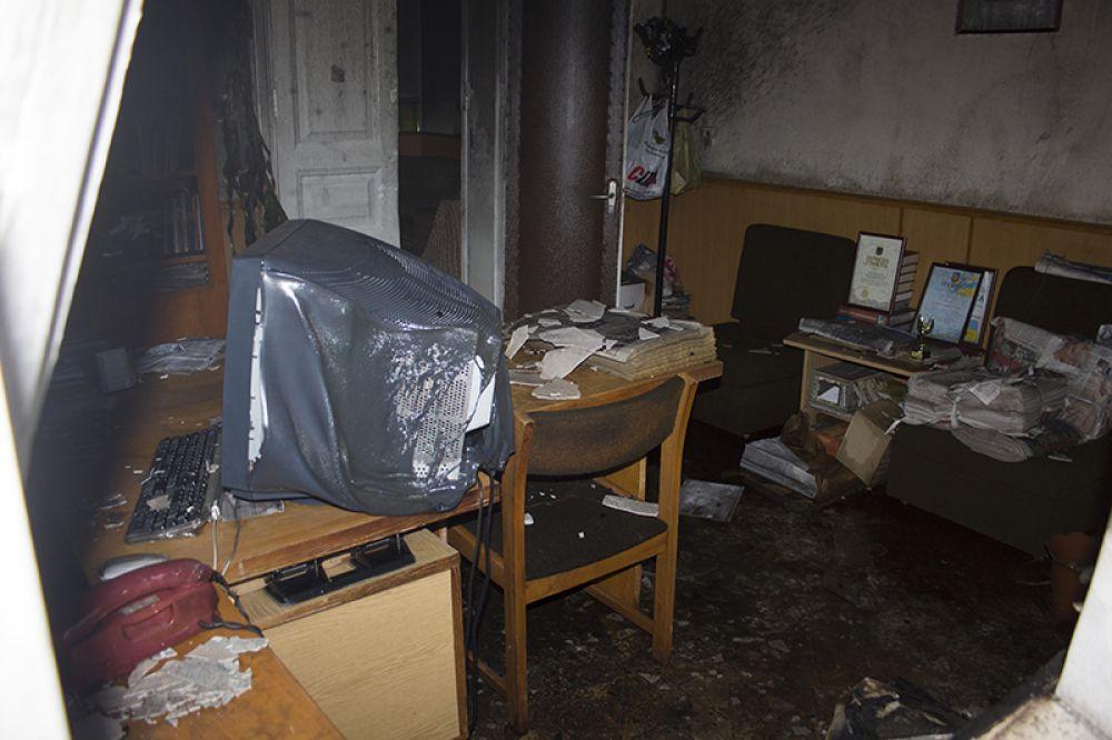 Сгоревший кабинет редактора газеты Собеседник Измаила