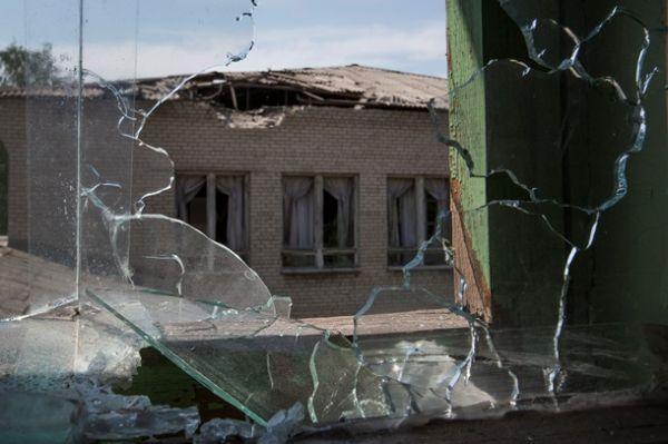 Разбитые окна в здании Славянска