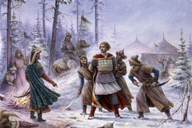 Фрагмент картины Н. Куландина «Эпизод русской жизни во время татаро-монгольского ига», 1962 г.