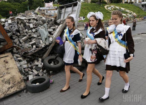 Выпускники на Майдане Незалежности в Киеве