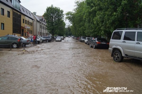 В Смоленске затоплены улицы и жилые дома, размыты мост и подмыты дамбы, повалены деревья и парализовано движение транспорта.