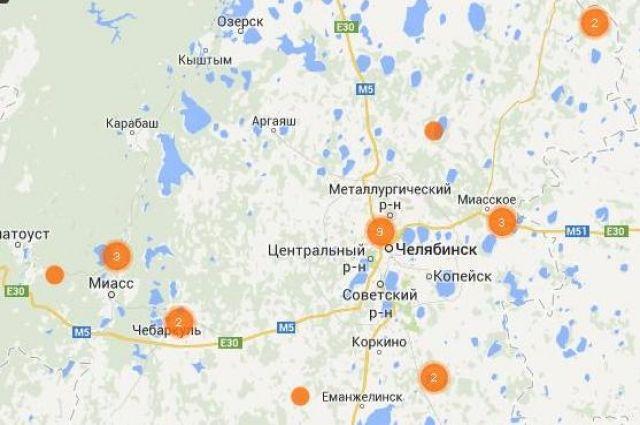 Карта возгораний в Челябинской области.
