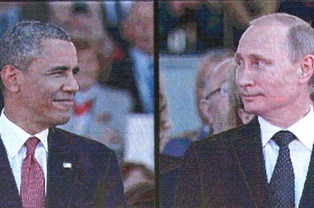 На экраны оказались выведены обе картинки, заняв ровно по половине экрана: на одной из них крупно был Обама, на другой – Путин.