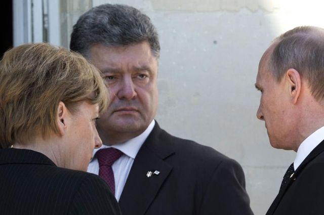 Встреча Порошенко с Путиным в присутствии Меркель