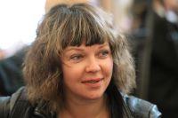 Актриса театра имени Моссовета Елена Валюшкина на традиционном сборе труппы перед началом нового сезона. 2013 год.