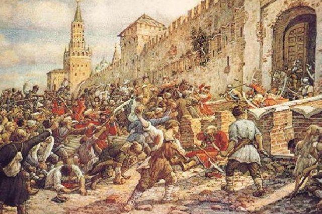 Соляной бунт на Красной площади в 1648 году. Картина Эрнеста Лисснера