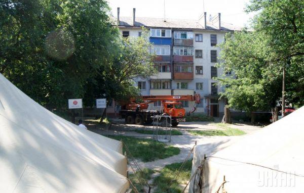 Жилой дом, пострадавший в результате взрыва