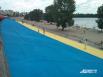 На Оболонской набережной в Киеве нарисовали самый большой национальный флаг