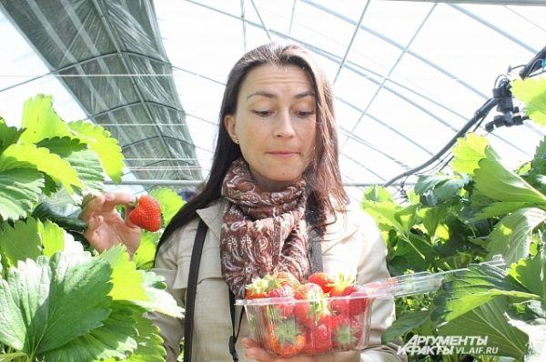 Каждому выдали по контейнеру, в который входит полкилограмма ягод.