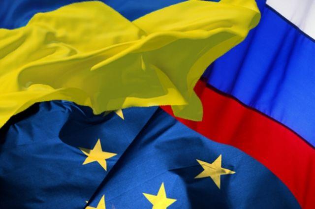 Флаги Украины, ЕС и РФ