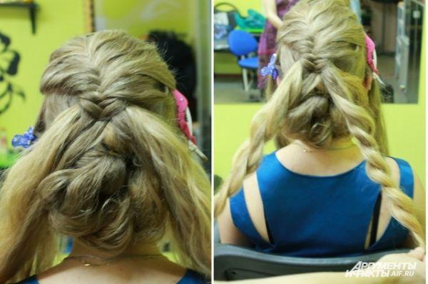 Оставшиеся волосы разделить на две части, каждую часть закрутить в жгут и немного распушить.