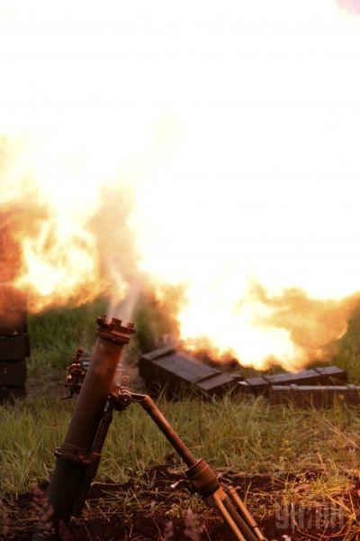 Минометная батарея ведет огонь