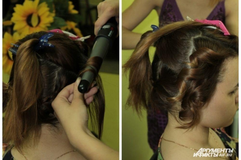 Накрутить волосы из правой и левой части.