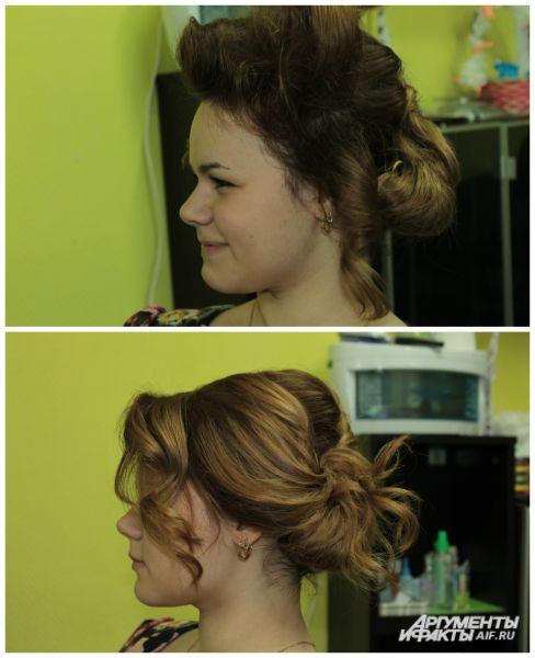 Делаем начёс из волос с правой и левой стороны.