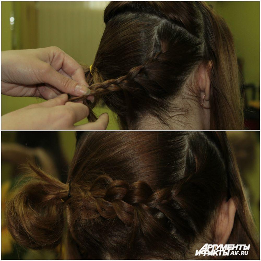 Из оставшихся волос на макушке заплести косичку и прикрепить её к хвосту.