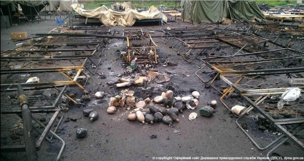 Лагерь украинских военных после обстрела