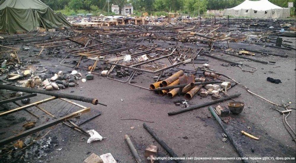Лагерь сил АТО после обстрела