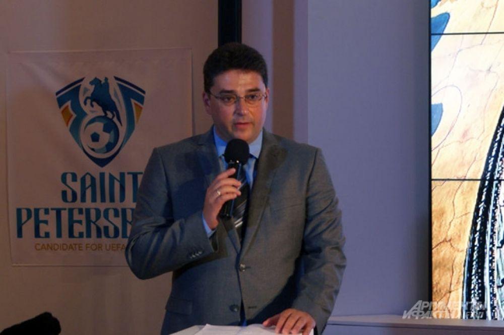 Председатель оргкомитета заявки Санкт-Петербурга на проведение матчей Евро-2020 Дмитрий Шнейдер.