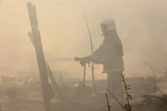 На тушении пожара в Амгу.