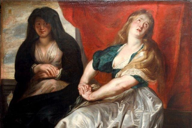 Фрагмент картины Рубенса «Кающаяся Мария Магдалина с сестрой Марфой».