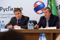 Евгений Дод и Игорь Сечин на совещании, посвященном восстановительным работам на Саяно-Шушенской ГЭС.