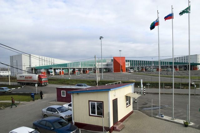 Пропускной пункт на российско-украинской границе.
