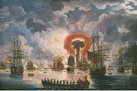 Картина Якоба Филиппа Гаккерта «Эпизод морского боя». На картине изображён взрыв турецкого корабля.