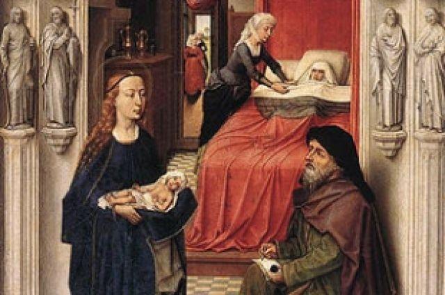 «Наречение Иоанна Крестителя» (картина Рогира ван дер Вейдена. Разрешившаяся от бремени Елизавета лежит в кровати, на переднем плане Захария пишет имя сына)