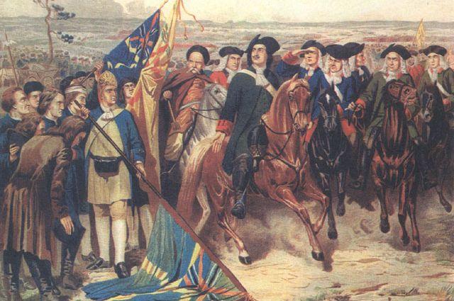 Репродукция картины Алексея Кившенко «Капитуляция шведской армии».