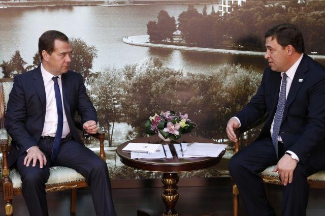 Дмитрий Медведев и Евгений Куйвашев встретились на «Екатеринбург-ЭКСПО»