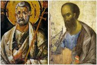 Апостол Пётр на иконе VI века и апостол Павел на работе 1410 года Андрея Рублёва.