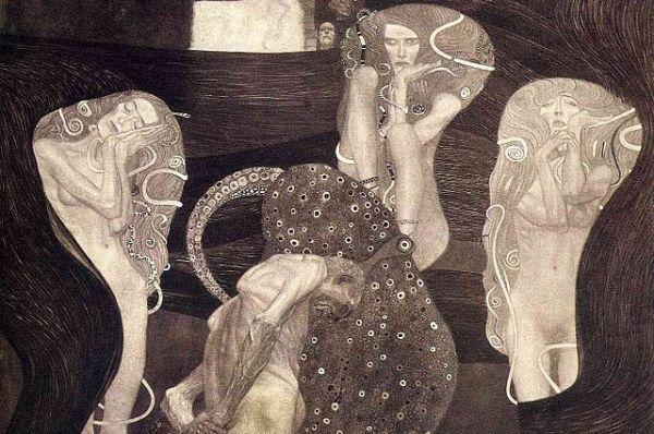 Для украшения потолка Венского университета Климт создает три картины:  «Философия», «Медицина» и «Юриспруденция». Из-за открытого эротизма их резко критиковали и не выставили в здании университета: частные коллекционеры купили картины художника. Но судьба работ была трагичной: они погибли во время войны, и сохранились только предварительные наброски Климта к картинам и плохие черно-белые снимки картин.
