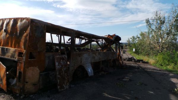 Сожженный пассажирский автобус