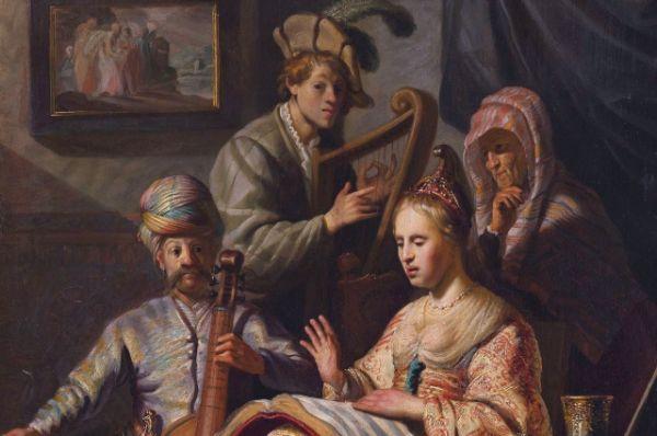 Под влиянием Ластмана и караваджистов Рембрант начинает экспериментировать со светом, использует насыщенные яркие краски, выписывает мелкие детали.  «Крещение евнуха» (1626), «Аллегория музыки» (1626), «Давид перед Саулом» (1627), «Симеон и Анна в Храме» (1628), «Христос в Эммаусе» (1629) – картины первого периода творчества Рембрандта, где особо заметно пристрастие художника к красочности и деталировке образов.